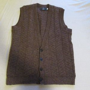 Vtg Orvis Cable Knit Wool Sweater Vest Cardigan S